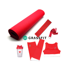 Private label red sport yoga fitness Gym übung set yoga getriebe für private marke