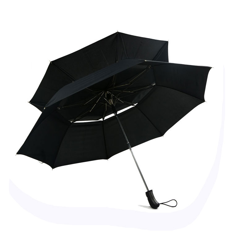 Double layer canopy fiber frame 2 fold umbrella with strong windproof