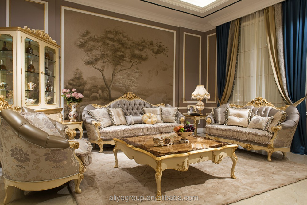 As09-royal Classic Sofa Set And Luxury Fabric Living Room