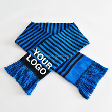 Good Quality Low MOQ Request under Customized Design Knitted Jacquard Embroidery Sports Football Fan Acrylic Scarf