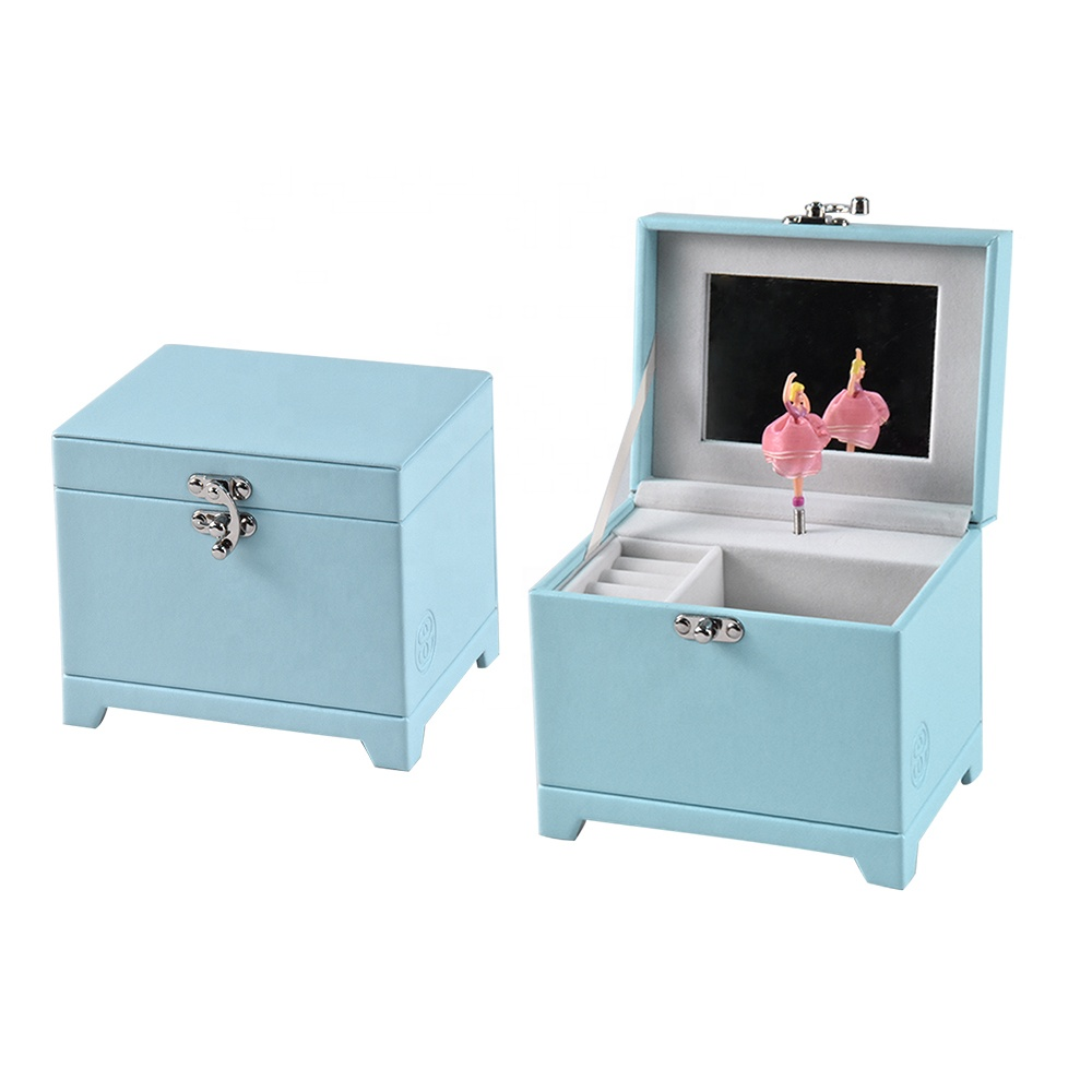 Custom High Quality Adorable Blue Leather Music Jewelry Box