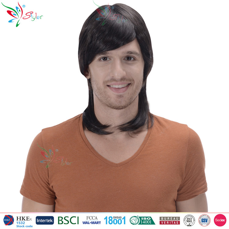 Styler Brand halloween synthetic long hair yiwu wig factory Wholesalers man black wig