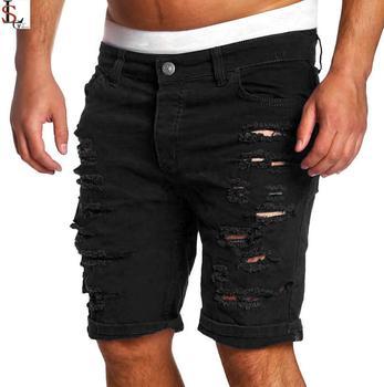 De Moda Vaqueros Pantalones Cortos Denim Agujero Hombres Blanco Y Negro Slim Skinny Rectos Casual Pantalones Vaqueros Pantalones Cortos Hombres