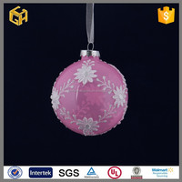 2015 new design pink blown hanging glass shot ball za christmas decorative