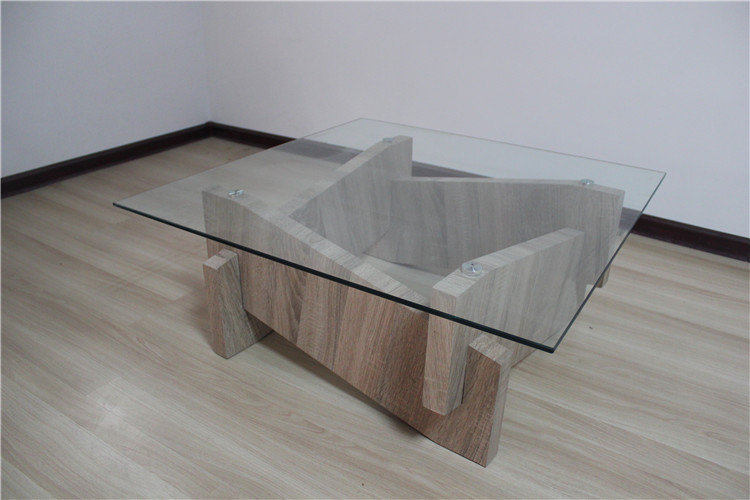 Crazy Sales Special Design Top Glass With Wooden Bases Coffee Table