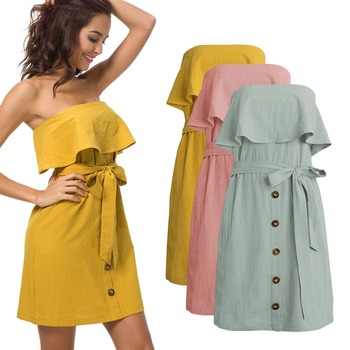 b7f6bc2f9b7 2018 hot selling women summer dress spaghetti strap button down solid color  sexy wrap dresses