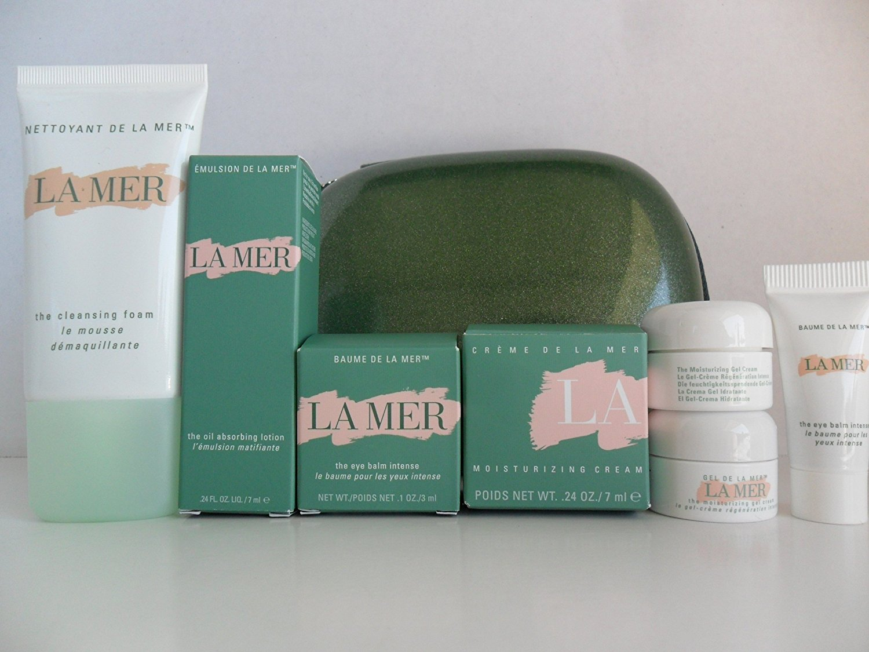 La Mer Skin Care Travel Set 8 pcs: The Moisturizing Cream .24 oz / 7ml New In Box, The Moisturizing Gel Cream .1 oz / 3.5ml(2pcs), The Eye Balm Intense .1 oz / 3ml New In Box, The Body Cream Sealed Tube 1 oz / 30ml, The Oil Absorbing Lotion .24 oz / 7ml New In Box, The Eye Balm Intense Tube .1 oz /
