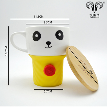 Ceramic Coffee Mugs Bulk With Bamboo Lid And Customized Package