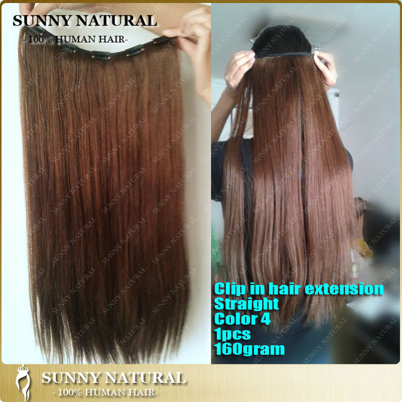 One Piece Clip In Hair Extensions Color 4 Human Hair Clip In Hair