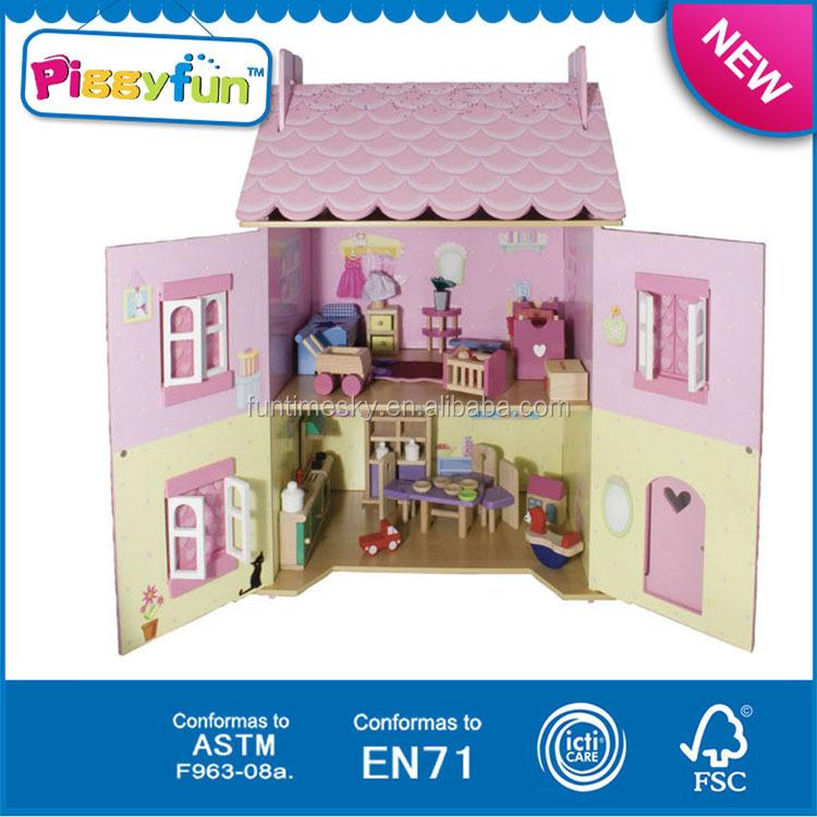 2015 high quanlity baby wooden doll housekids wooden doll house at11910 brand baby wooden doll house
