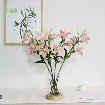 Real Looking Pink Tall Size PU Natural Touch Tiger Lily  Artificial Flower