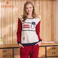 Autumn Girls Pajamas Casual Women Long Pajama Sets Cotton Lounge Pijama Female Homewear Round Neck Women