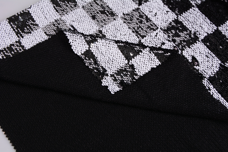 China wholesale turn over white silver square 5mm sequin embroidered 100 polyester non woven fabric