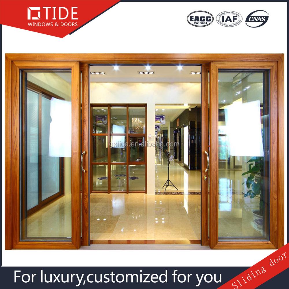 Luxury Glass Door : Luxury sliding glass doors with pulley aluminum wood clad