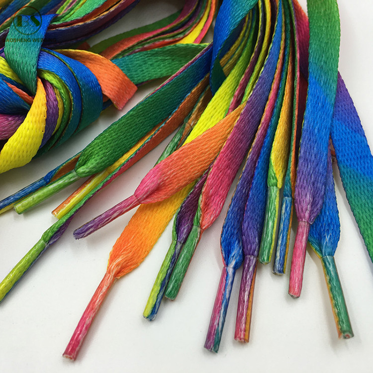 Hot Sale Stylish Flat Rainbow Shoelaces With Plastic Tips For Sport Shoes