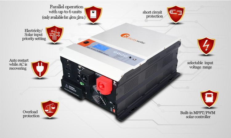 1-6kw Off Grid Pure Sine Wave Hybrid Solar Inverter with MPPT Charge Controller