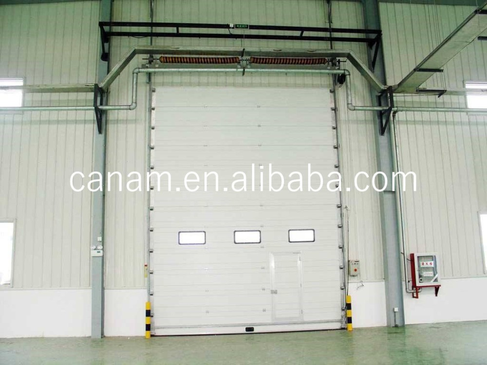 CE automatic color steel PU sandwich panel insulated industrial door,high lifting garage door