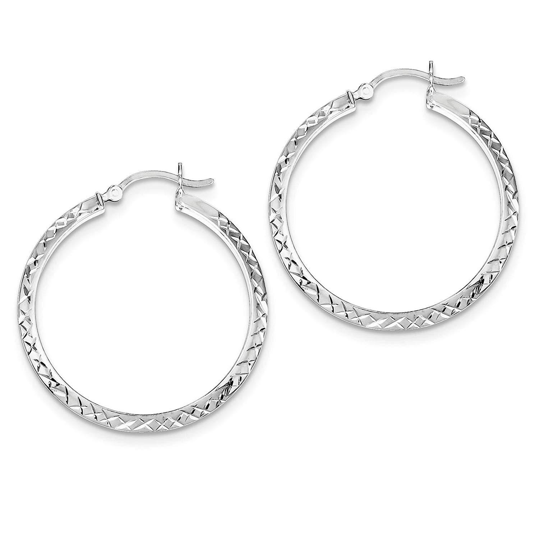 .925 Sterling Silver Rhodium-plated Diamond-cut Round Hoop Earrings 3mm x 36mm