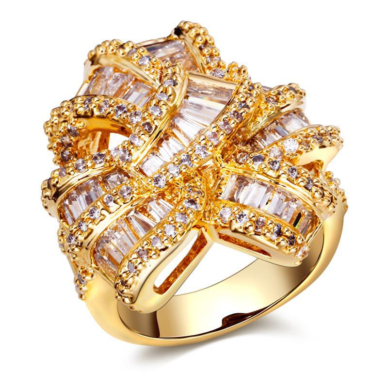Luxury women s Designer rings unique jewelry 18k gold plated micro pave setting with cubic zirconia