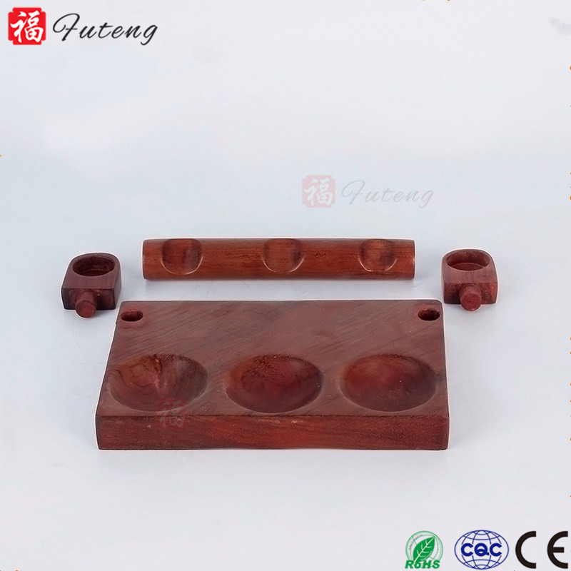 FT-02391 Yiwu Futeng High Quality Red Wooden Smoking Pipe Rack with 3 Holes Stand For Hot Sale