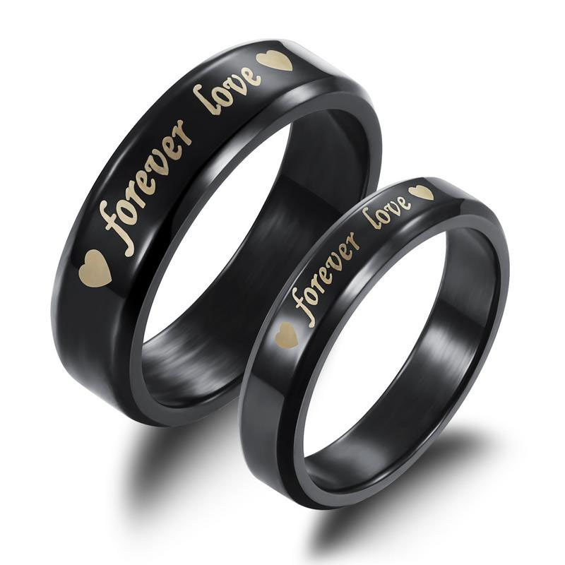 Black Forever Love Couple Ring Titanium Stainless Steel Men Women Wedding Ring Set
