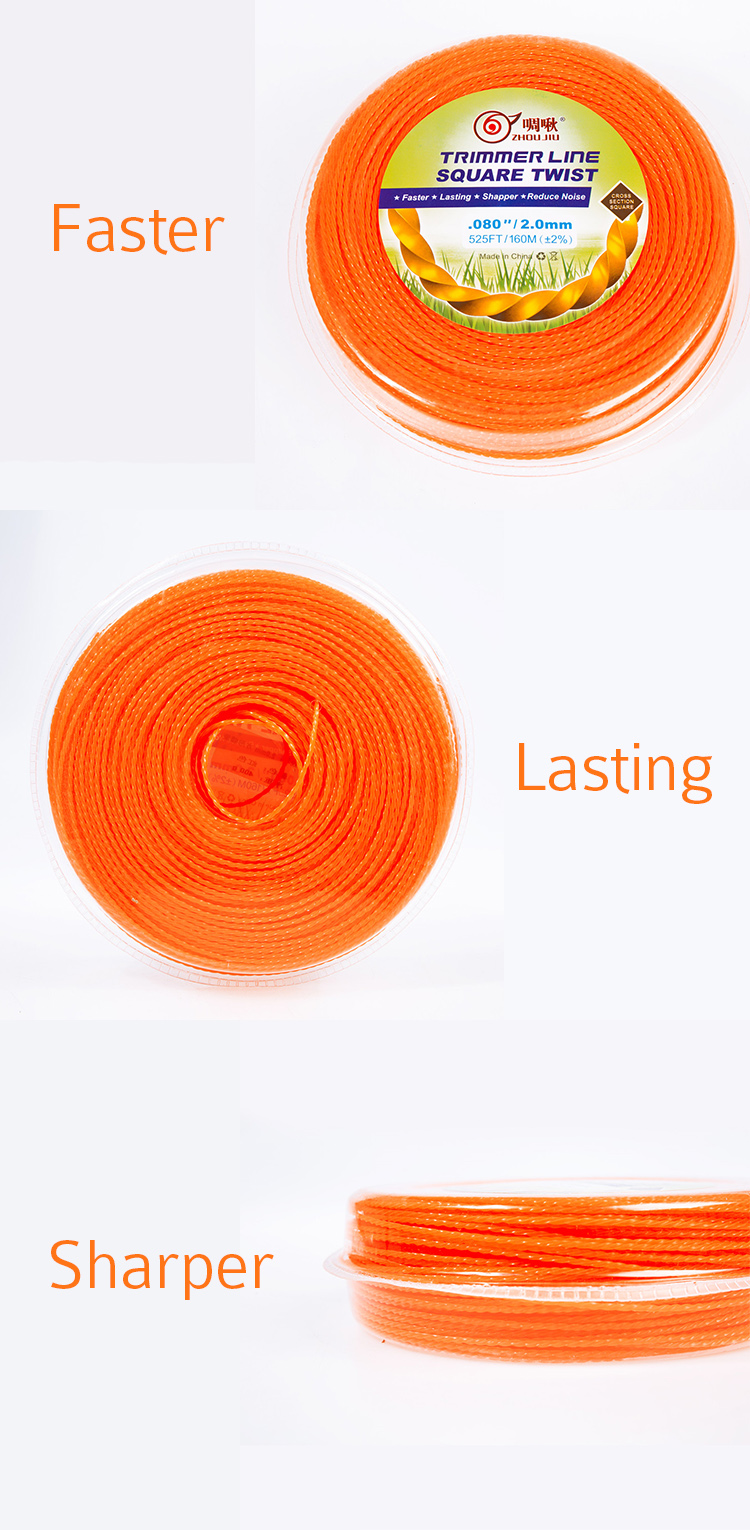 New professional Faster , Lasting , Sharper , Reduce Noise Square Twist line trimmer for grass cutter