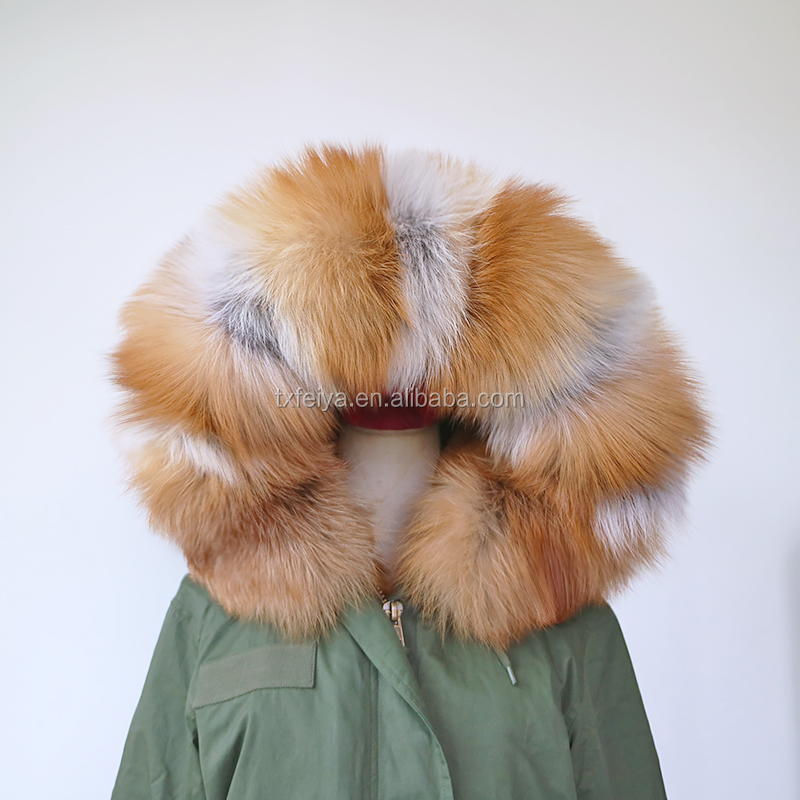 2017 Fashion parka jacket women winter real red fox fur hood trimming military parka