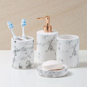 Marble Look And Rose Gold Bathroom Accessories View Marble Look