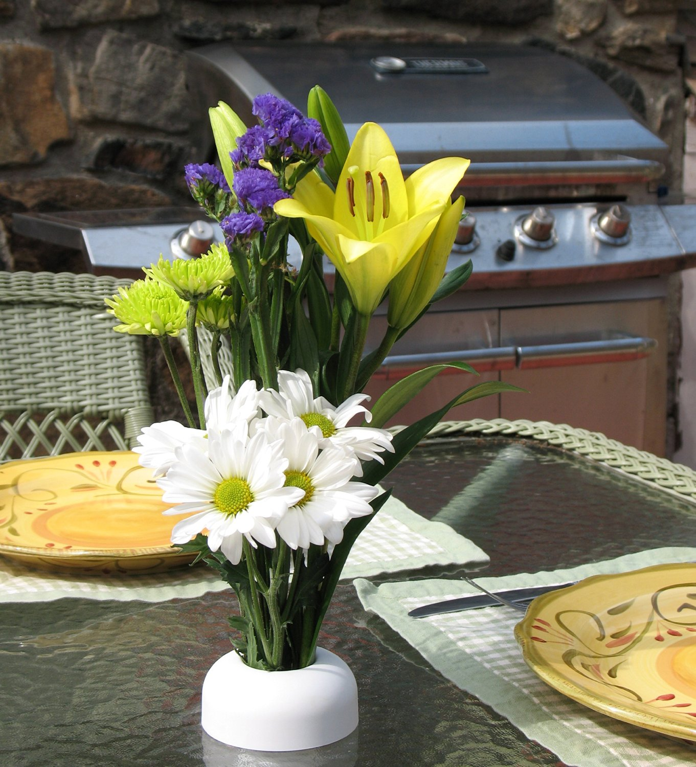 Patio Table Umbrella Hole Insert - The NoBrella Flower Vase provides a quick and easy way to decorate the Umbrella Hole Ring Set in your patio table. & Buy Patio Table Umbrella Hole Insert - The NoBrella Flower Vase ...