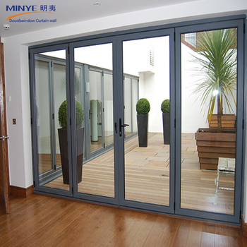 High Performance Stylish Prefabricated Folding Doors Heat Insulated Aluminum Door For Large View
