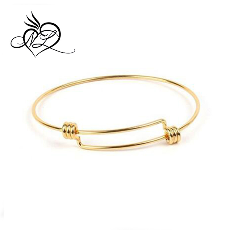 Stainless Steel Simple Adjustable Wiring Bangle Bracelet Expandable Wire Bangles Wholesale