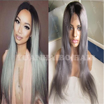 8A Peruvian Hair Two Tone Full Lace Wig T1b/gray Ombre Straight Wig 130% density Silver Grey Dark Roots Human Hair Wig