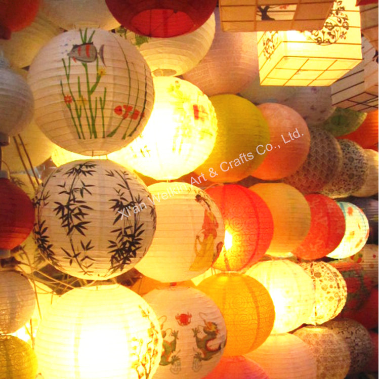 Led Light Paper Lantern String Lights Hanging Chinese Lanterns Floor Standing Lamp Decorations