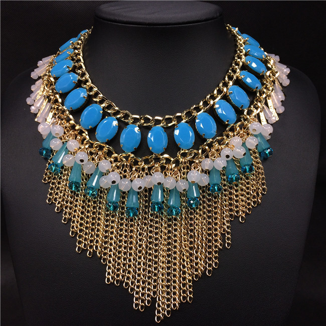 2015 primavera verano moda de nueva diseño mujeres azul cristal tassel multicapa choker collar