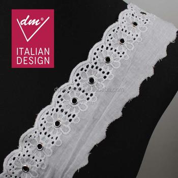 Latest Fashion 6cm Width Circle Pattern Scalloped Cotton Eyelet Lace