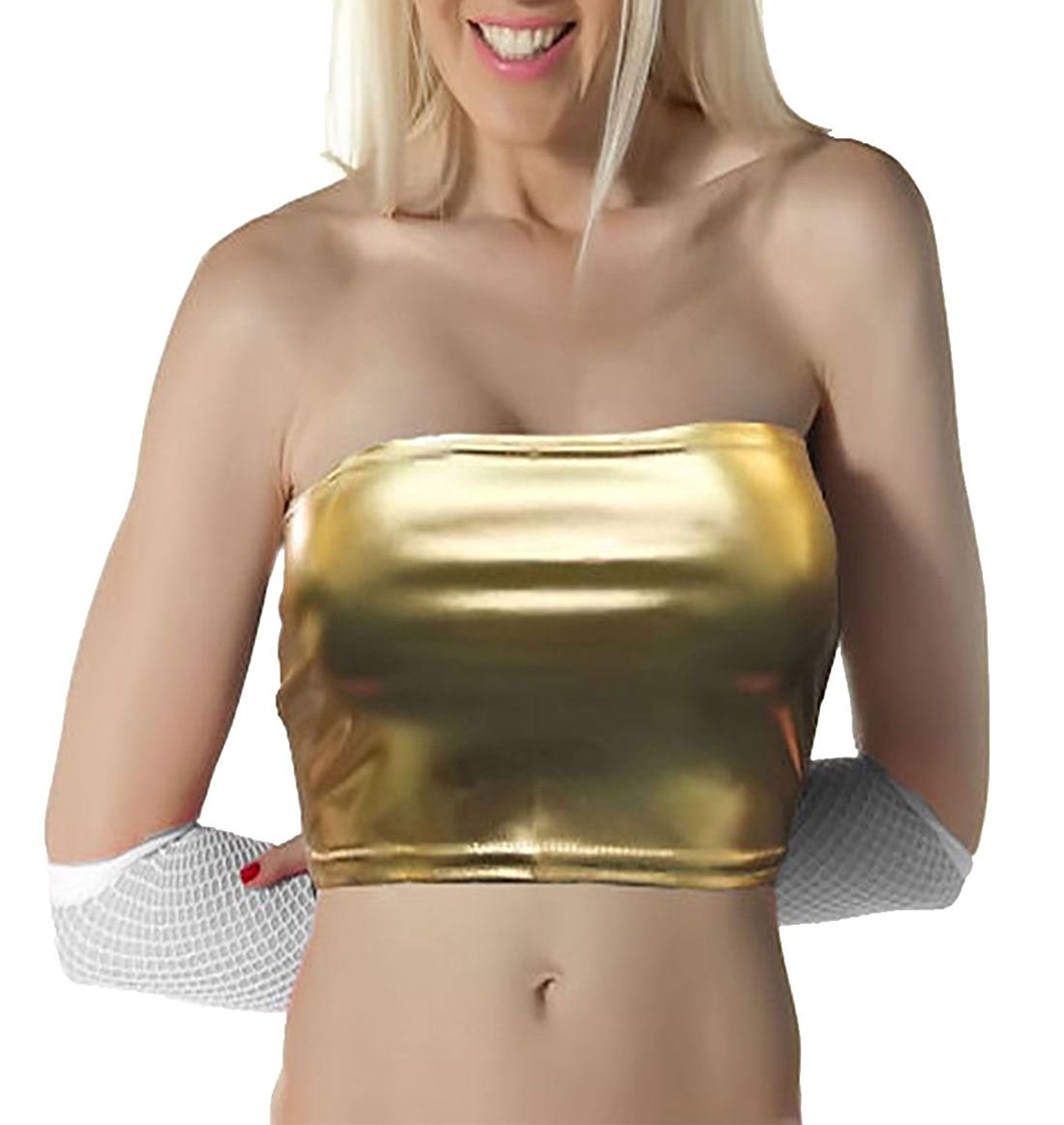 Rimi Hanger Womens Wet Look Shiny Boob Tube Top Ladies Strapless Bandeau Party Club Wear Small/X-Large