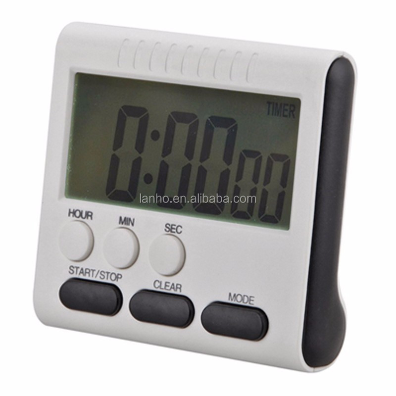 Piazza Magnetic Ampio DISPLAY LCD Digital Kitchen Timer Count Up Down Allarme Orologio di 24 Ore