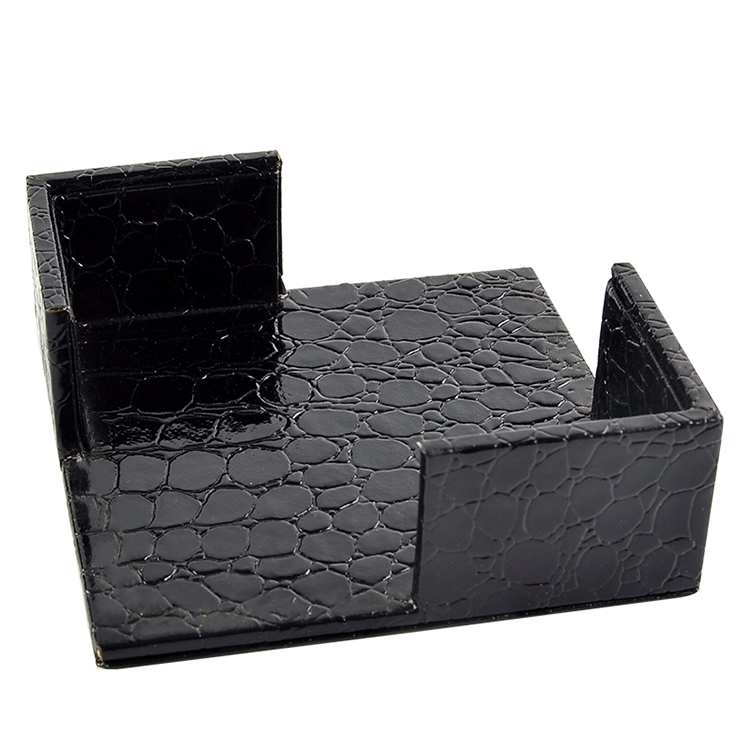 Black Leather Drink Coasters Holder For Home Furnishing ...