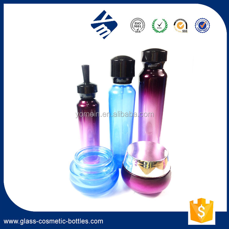 60ml 130ml Royal Design Empty Glass Lotion Bottle with White Pump 50g Cream Jar with Lid