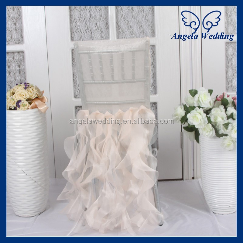 CH005B Hot sale wholesale custom made organza ruffled curly willow light peach wedding fancy chair covers