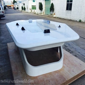 Tell World 20 person white marble solid surface meeting room conference table