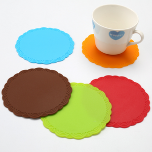 Household Round Non-slip Table Heat Resistant Pad Rose Silicone Coaster