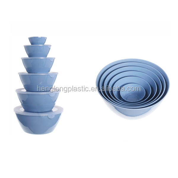 Bule Color Round Shape Mixing Bowl 5 Pieces Plastic Salad Bowl Set With Lids