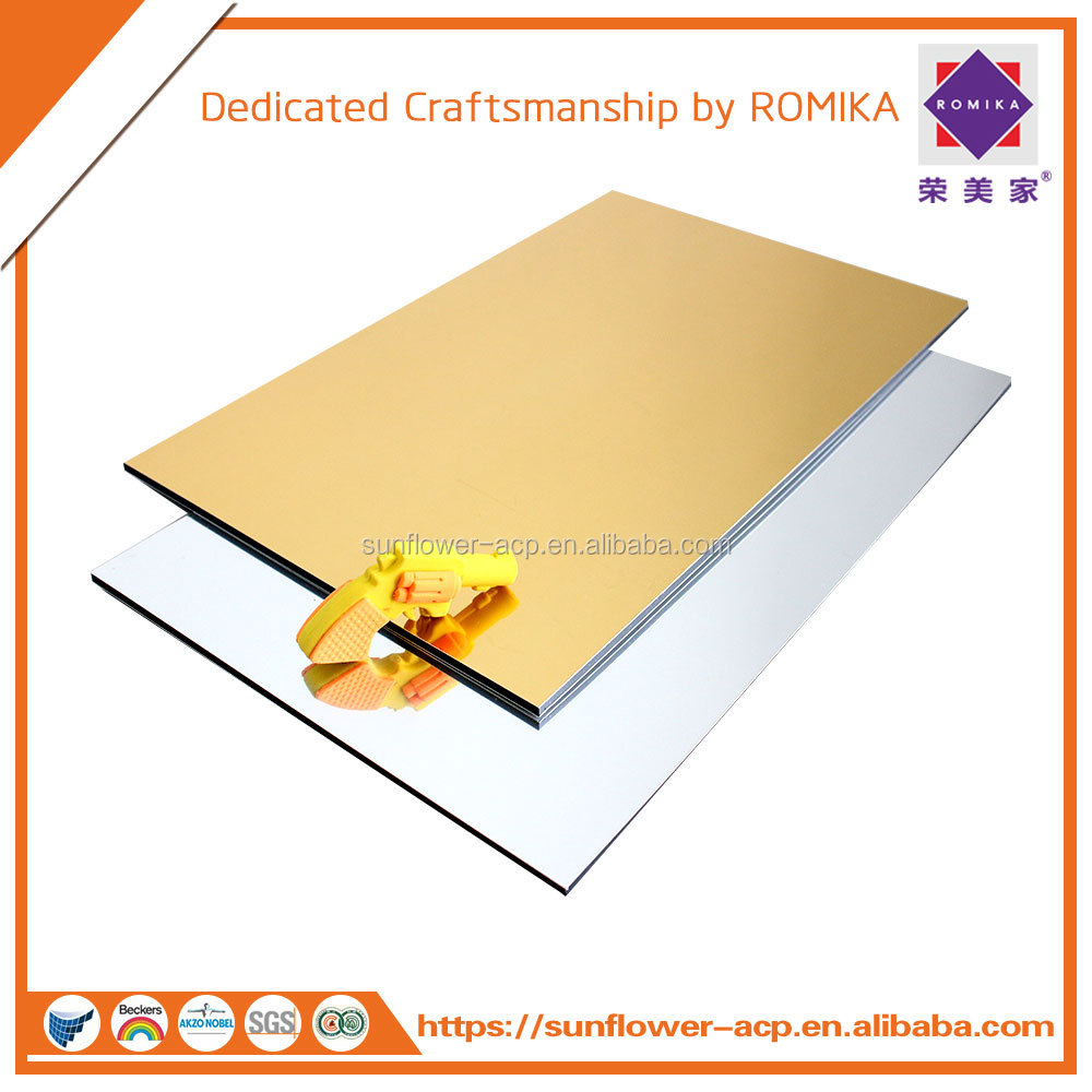 3mm/4mm Gold or Silver MIRROR FIRE-PROOF PVDF Aluminum Composite Panel/ACP/ACM/Aluminum plastic composite for wall cladding