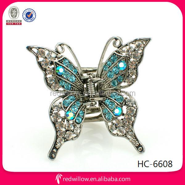 Butterfly Hair Claw Clip Blue Rhinestone Decorative Hair Accessory ...