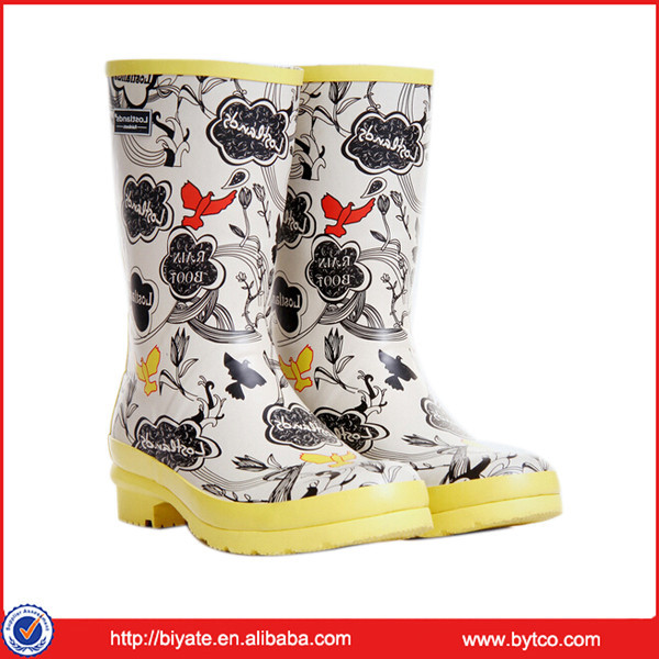 Handmade Ladies Hunting style Rubber Rain Boots/Natural Rubber boots