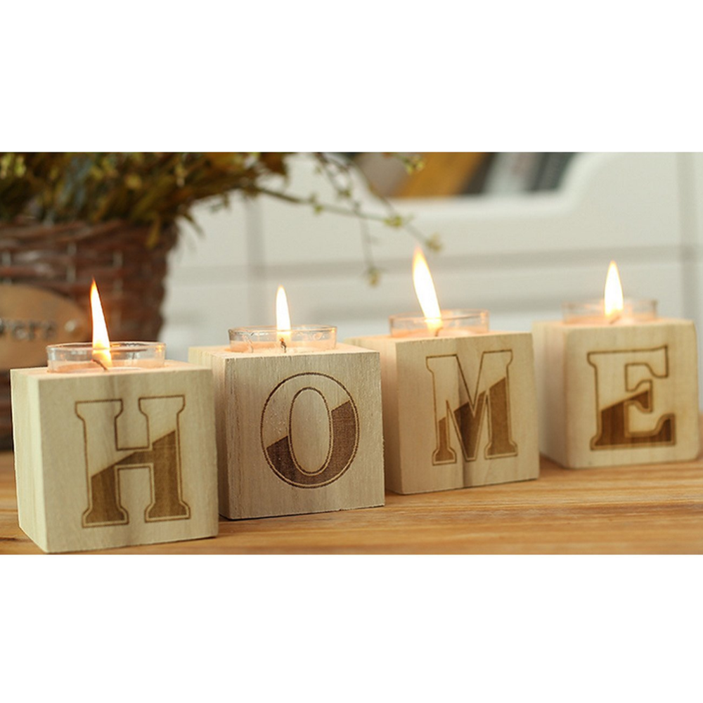 High quality squared handcraft custom antique wooden candle holder base