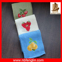Fruit Design Embroidery Solid Color Cotton Waffle Weave Hanging Kitchen Dish Towels