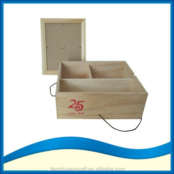 3 Compartments Large Wood Ornaments Box With Photo Frame Lid Buy 3