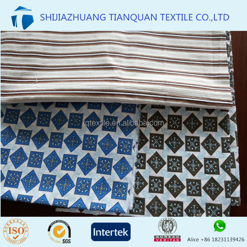 <strong>Cotton</strong> Rich or CVC Pigment Printed Flannel Fabric for Men Sleepwear with Cheap Price